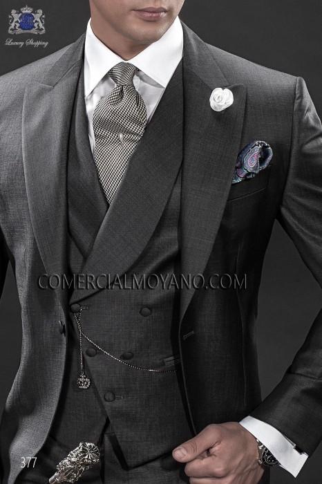 Dark gray asymmetric waistcoat