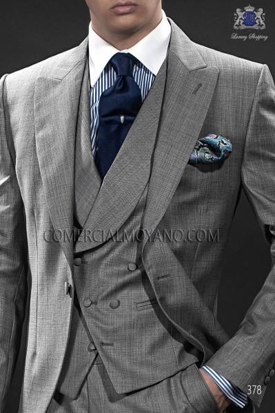 Pearl gray asymmetric waistcoat