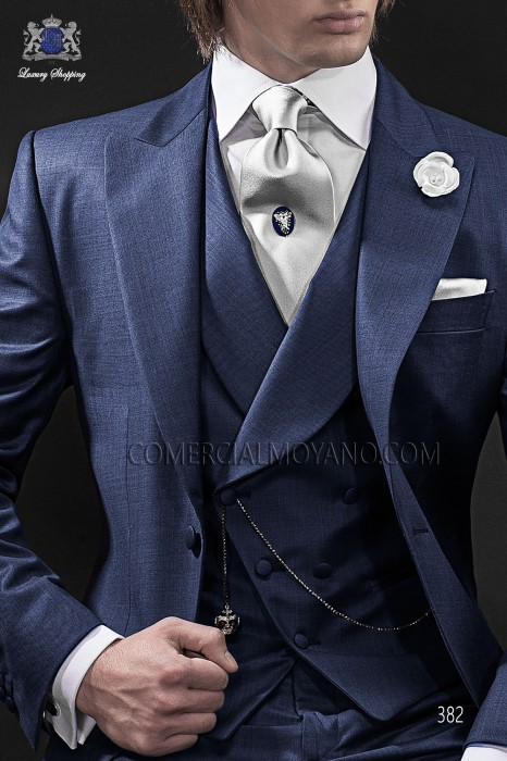 Blue double-breasted waistcoat in wool fabric