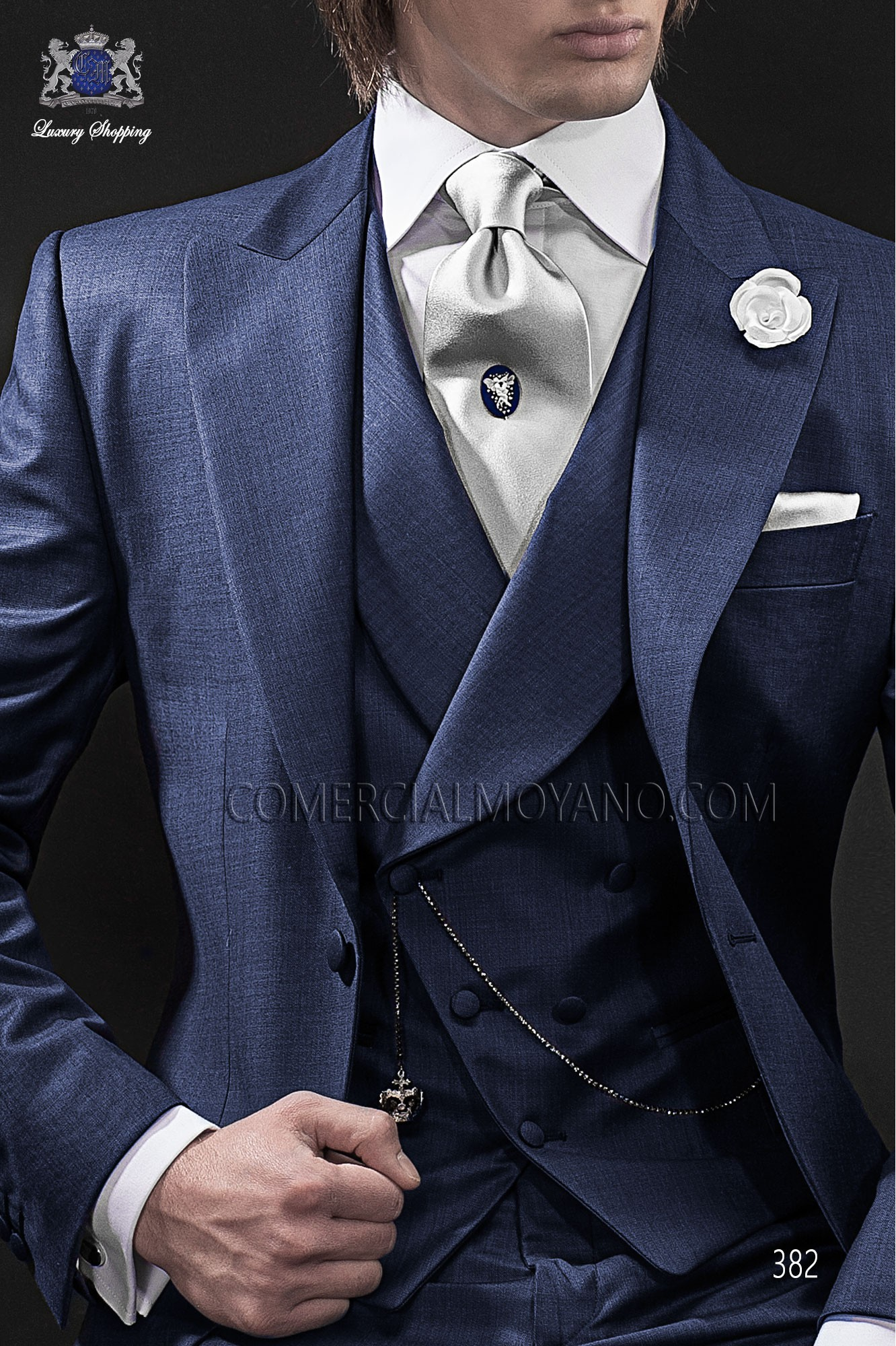 Blue double-breasted waistcoat in wool fabric Ottavio Nuccio Gala.