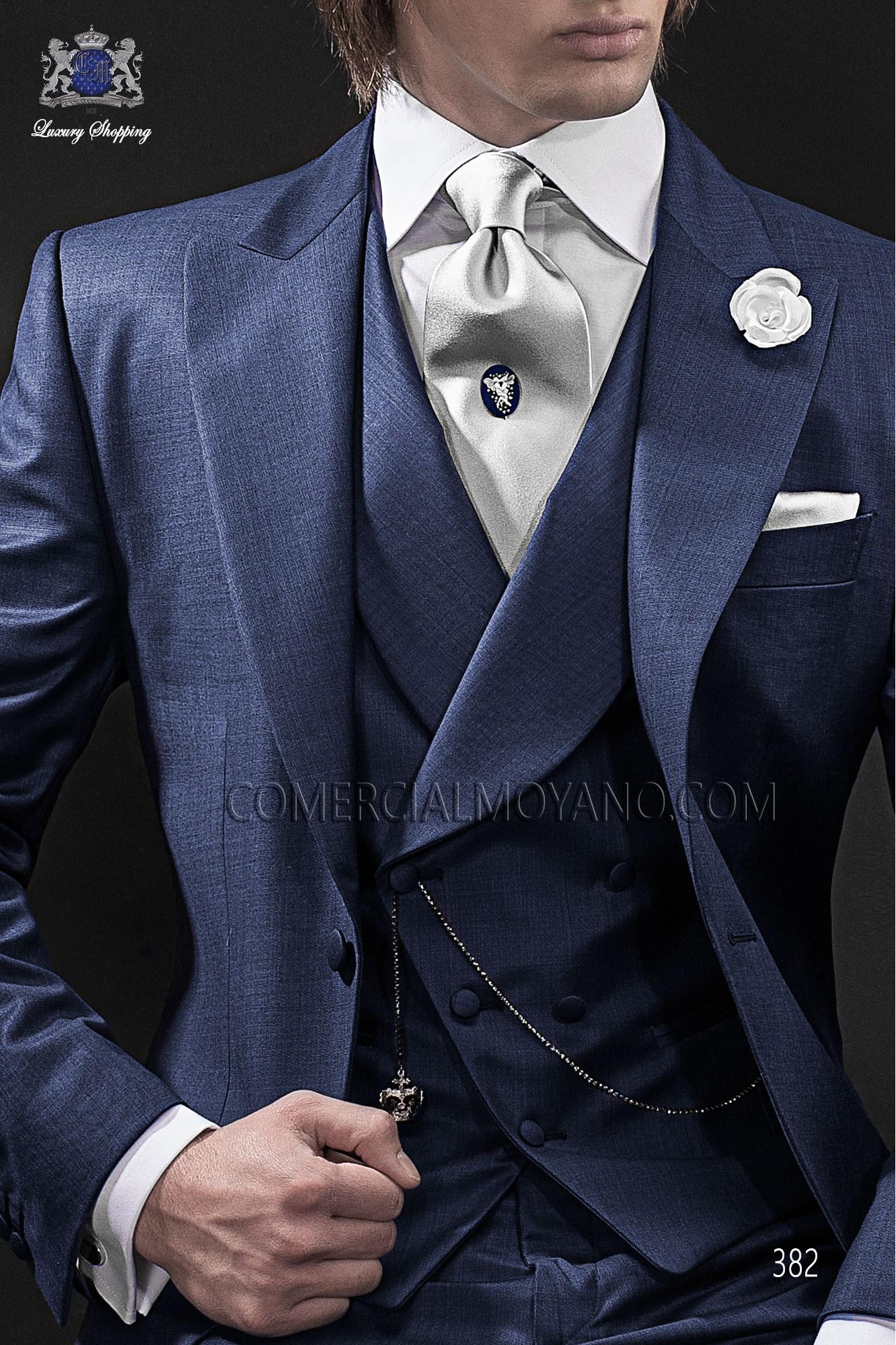 Blue double-breasted waistcoat in wool fabric Ottavio Nuccio Gala.