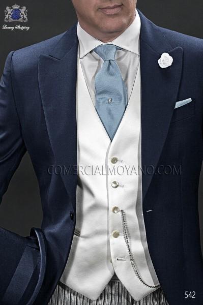 Pearl gray groom waistcoat in satin fabric