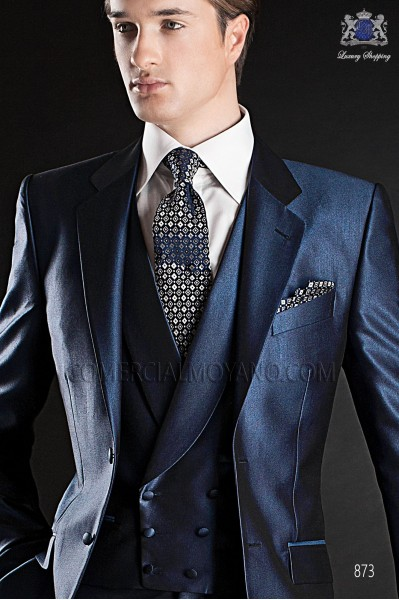 Blue double-breasted waistcoat
