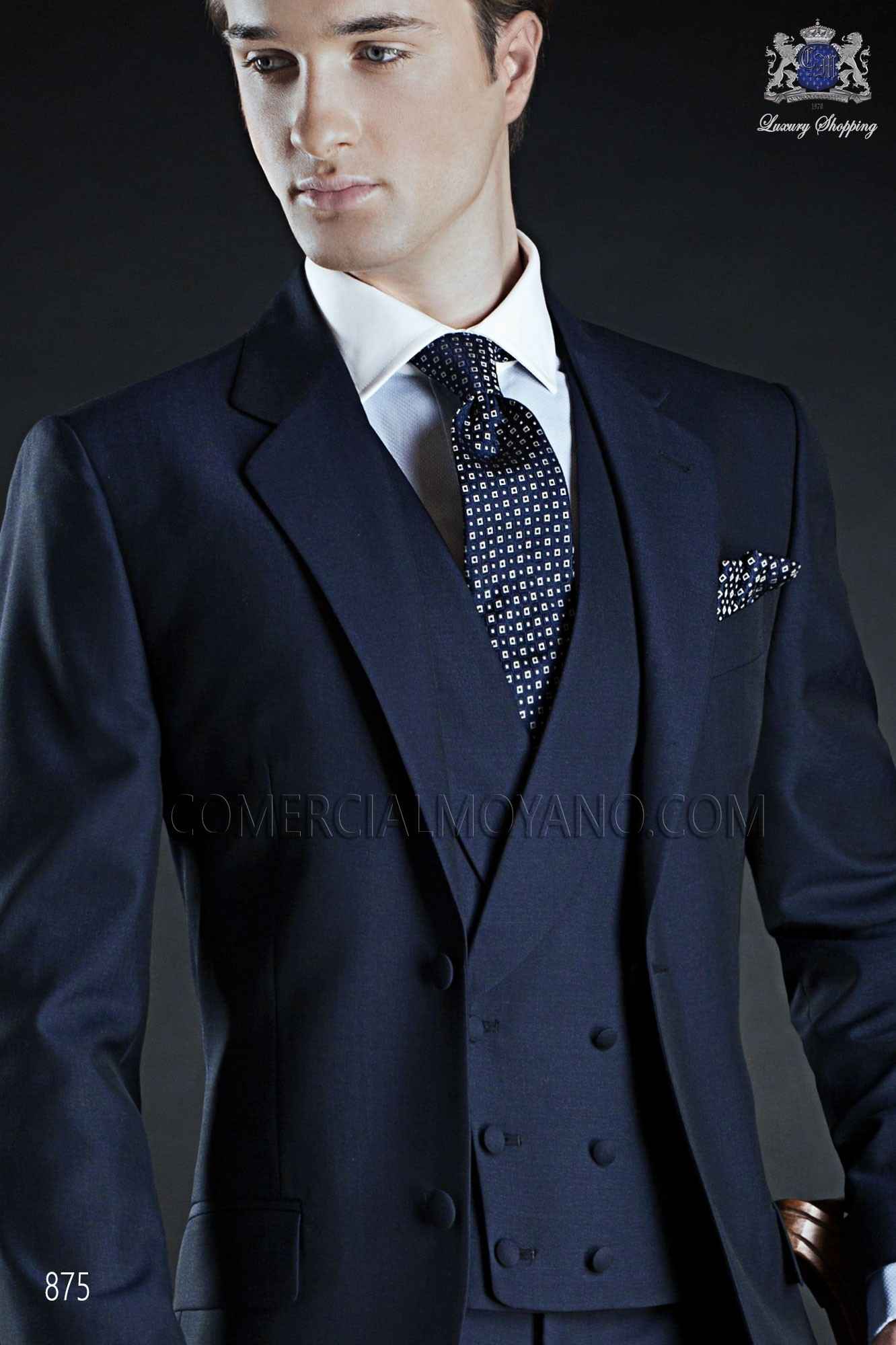 Double-breasted waistcoat in marine blue wool-mohair mix fabric ...