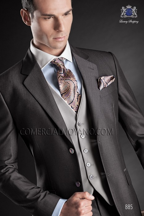 Gray waistcoat with contrast piping
