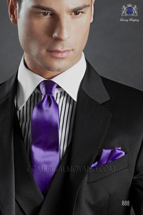 Pear gray satin tie and handkerchief