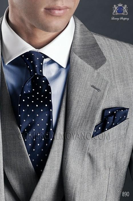 09c89768b8dd Navy blue polka dots ascot tie and handkerchief pure jacquard silk.