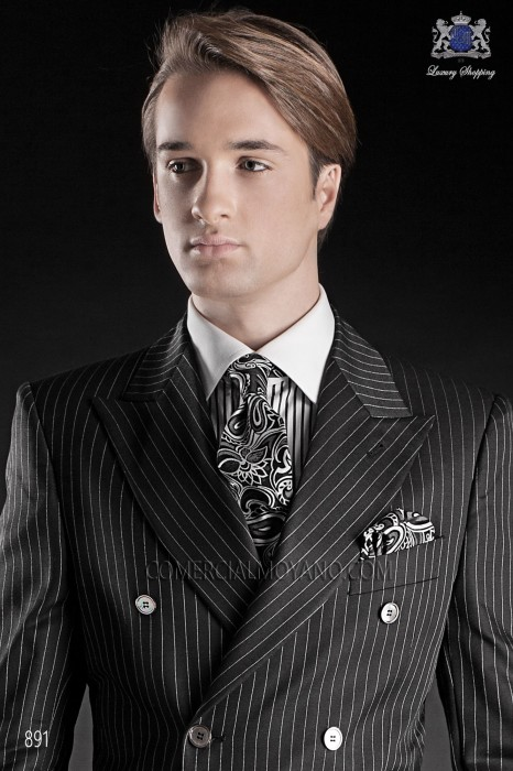 Black cashmere tie and handkerchief
