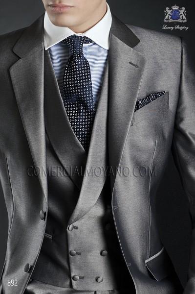 Gray double-breasted groom waistcoat