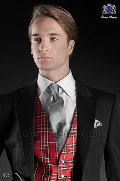 Gray silk tie & handkerchief