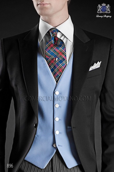 Light blue waistcoat with contrast piping