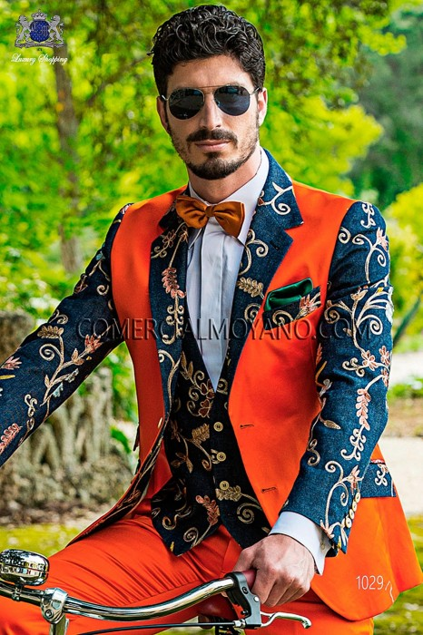 Embroidered denim waistcoat
