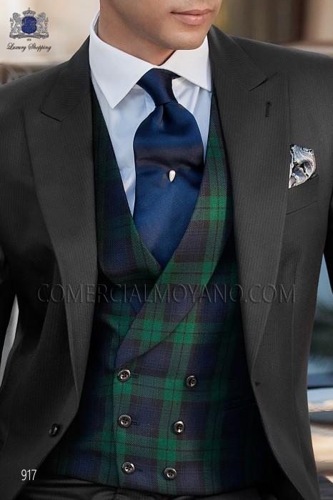 Blue double-breasted tartan waistcoat