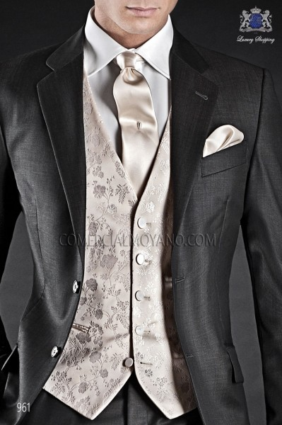 Ivory/gold groom waistcoat in silk jacquard fabric