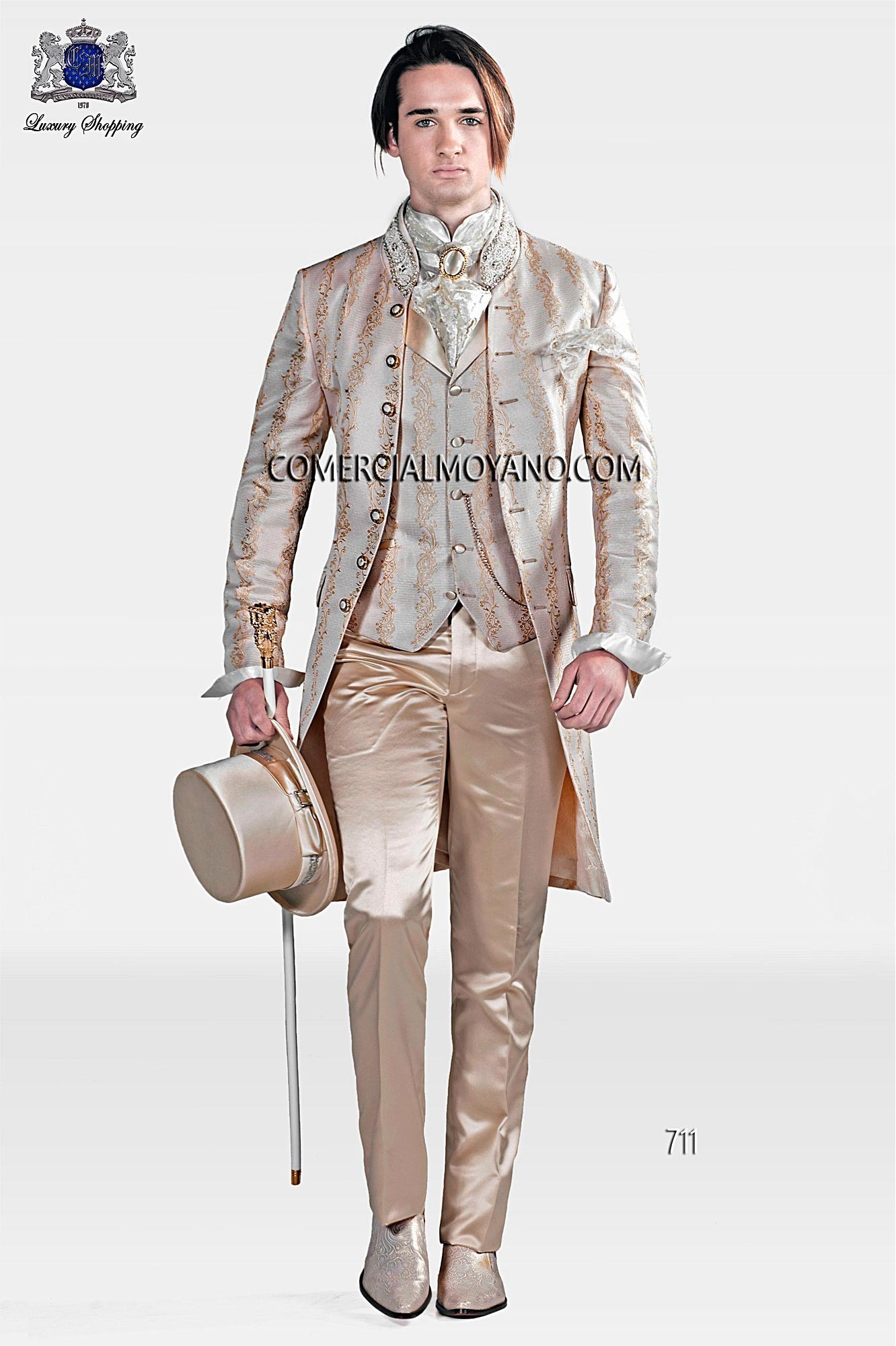 Baroque Italian Ivory Wedding Suit Loading Zoom