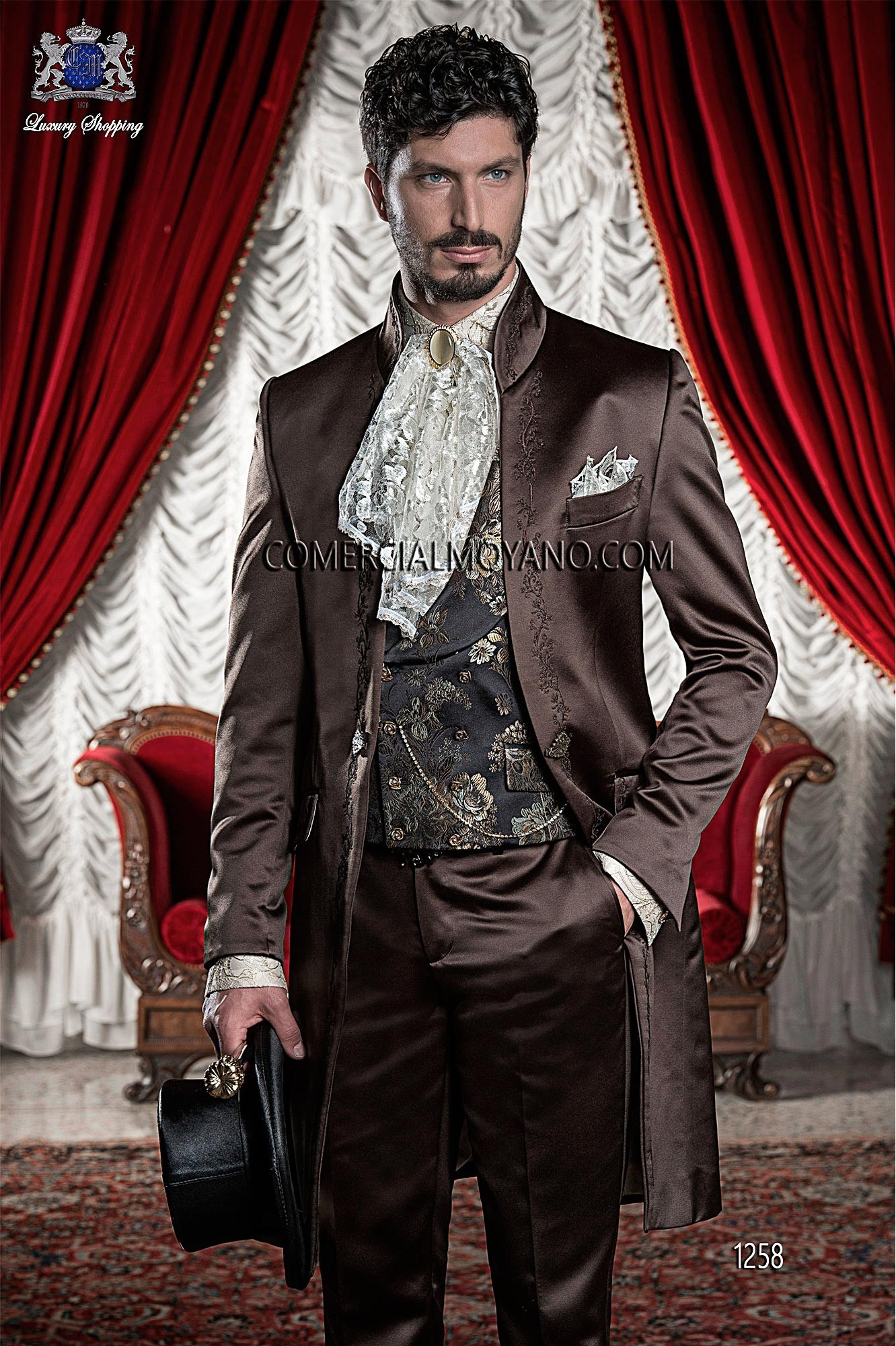 Italian bespoke brown satin Korean frock coat with bronze floral embroidery and Mao collar, style 1258 Ottavio Nuccio Gala, 2015 Baroque collection.