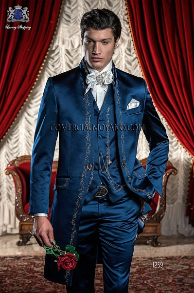 Baroque Italian blue wedding suit