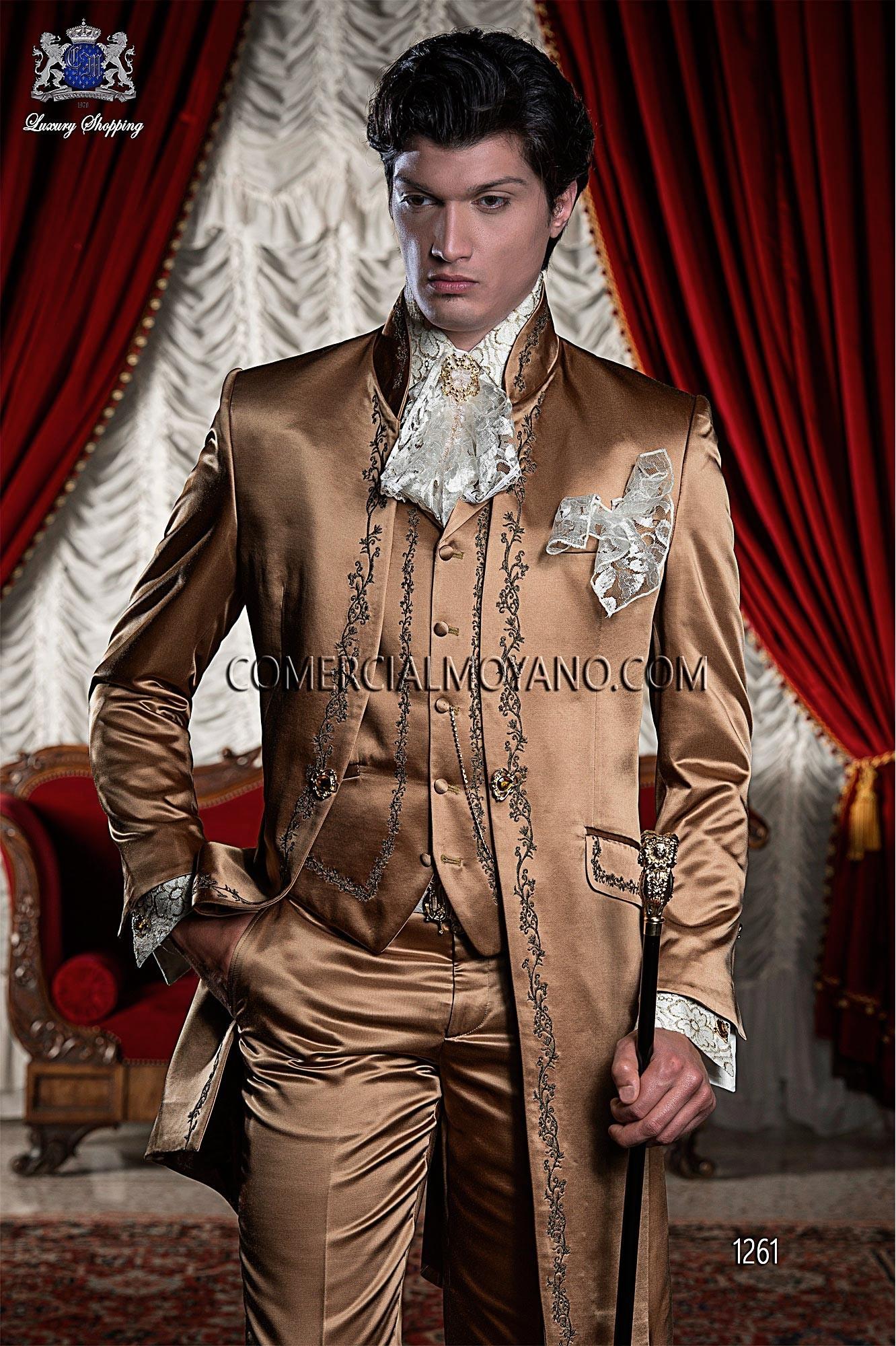 Italian bespoke dark gold wedding suit style 1261 Ottavio Nuccio Gala.