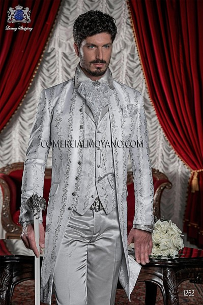 Baroque Italian pearl gray wedding suit