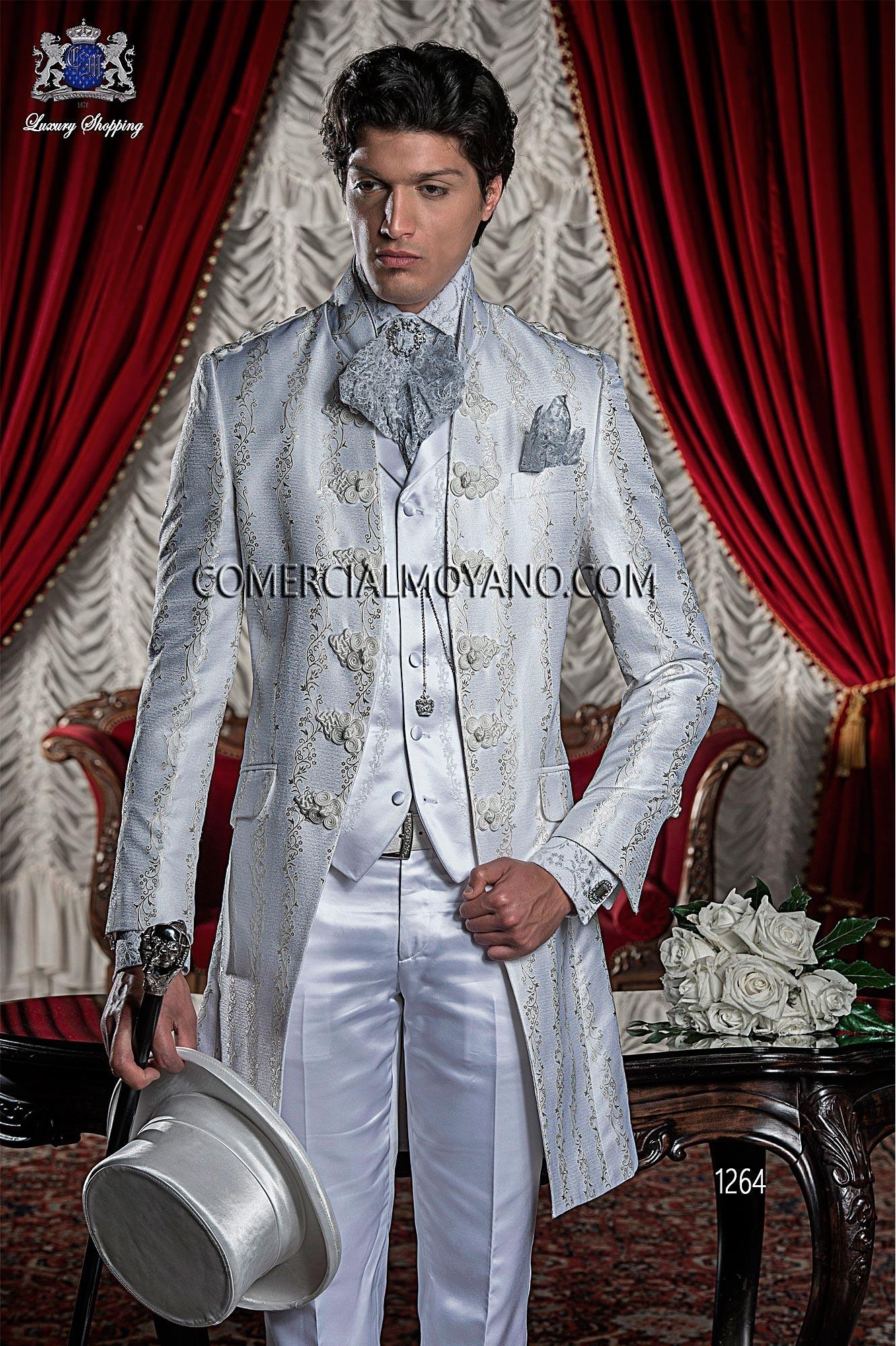 Traje de novio italiano Levita Redingote coreana en tejido brocado blanco y plata con cuello de