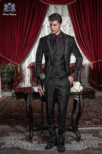 Traje de novio barroco negro modelo 1271 Ottavio Nuccio Gala colección Barroco 2017
