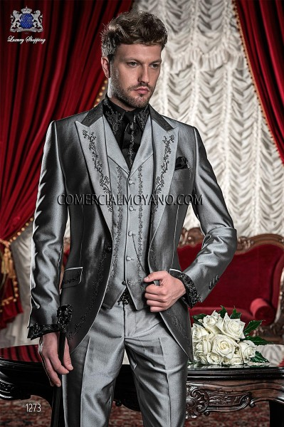 Italian light gray wedding suit