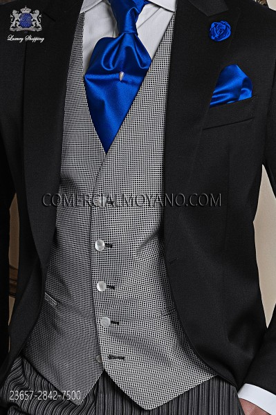 Gray groom waistcoat in micro patterned fabric