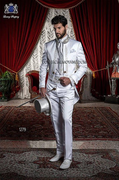 Baroque Italian white wedding suit