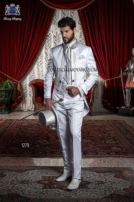 Baroque Italian white wedding suit