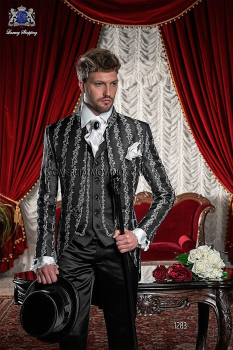 Italian black-silver baroque wedding suit
