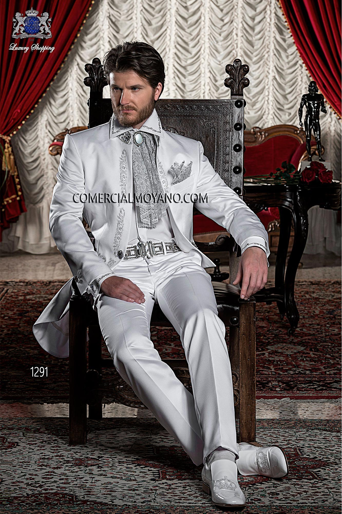 Italian bespoke white satin Tailcoat with silver drako embroidery and Mao collar with crystal rhinestones, style 1291 Ottavio Nuccio Gala, 2015 Baroque collection.