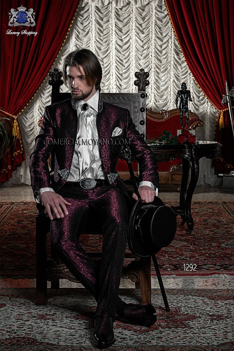 Baroque Italian burgundy groom suit