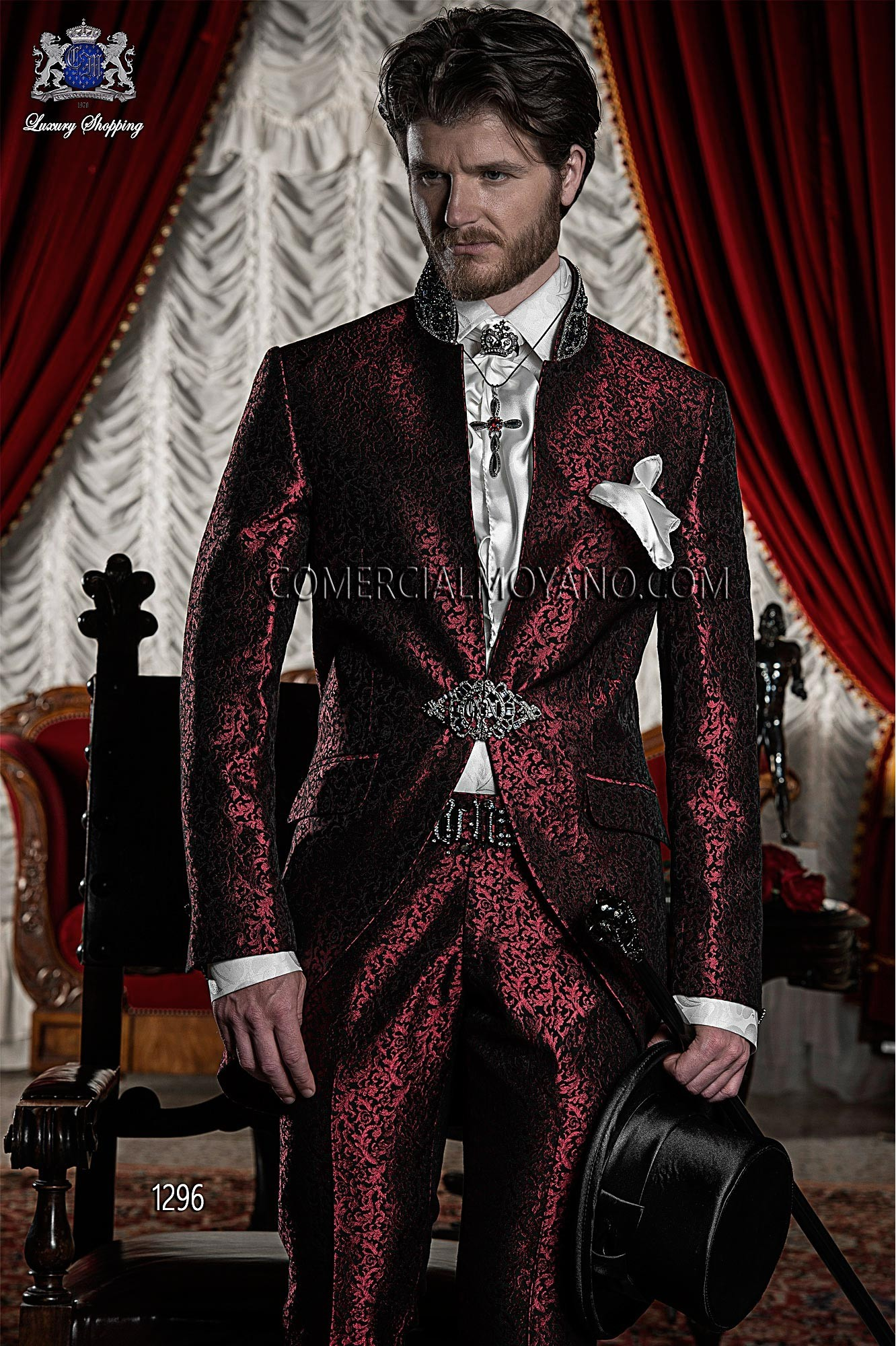 Italian bespoke red/black brocade short frock coat with Mao collar with crystal rhinestones, style 1296 Ottavio Nuccio Gala, 2015 Baroque collection.
