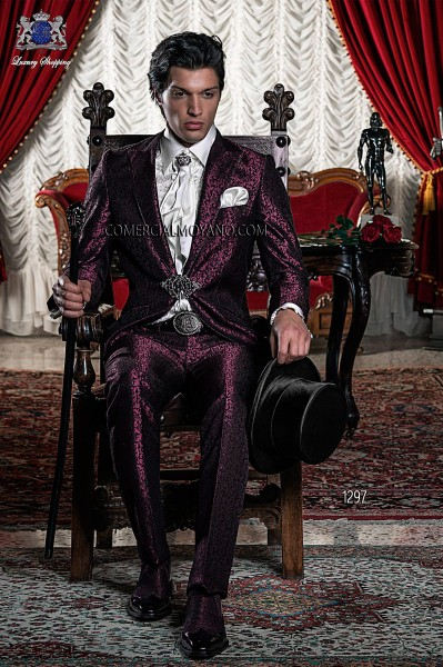 Baroque Italian burgundy/black groom suit