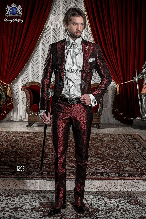 Baroque Italian red/black groom suit