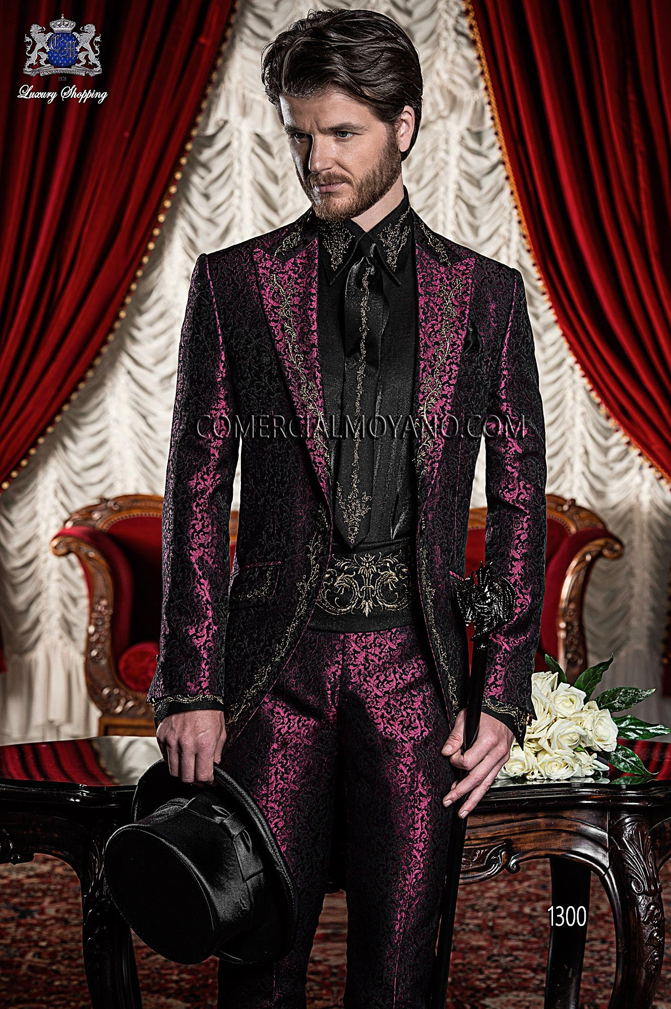 Italian bespoke burgundy/black wedding suit style 1300 ON Gala.