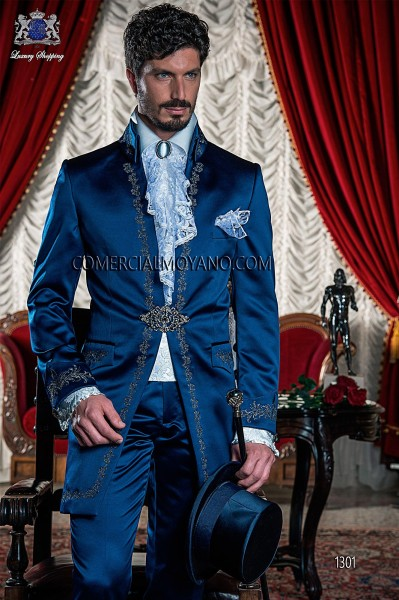 Baroque Italian blue groom suit