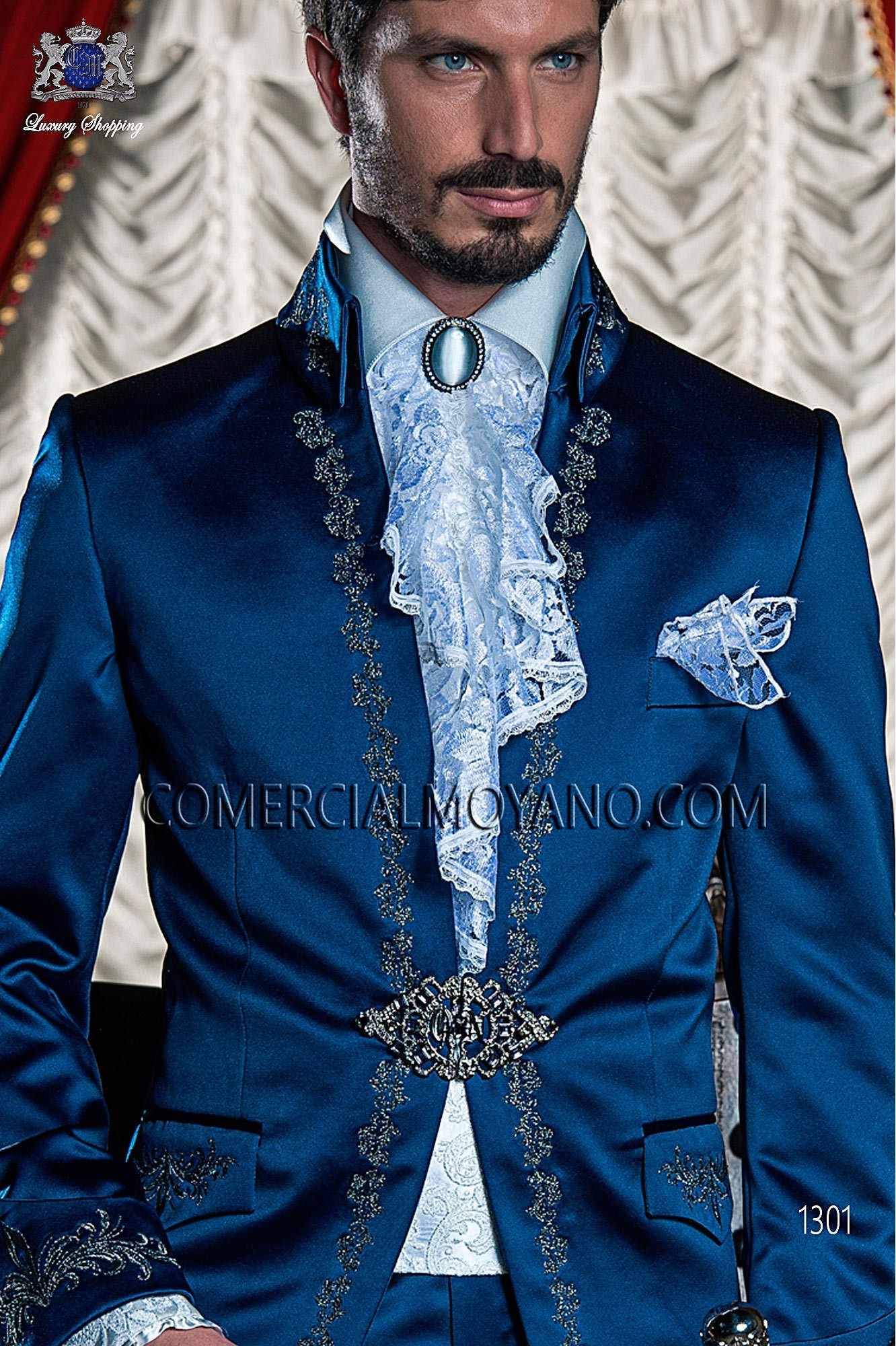 Italian baroque blue men wedding suit, model: 1301 Ottavio Nuccio Gala 2017 Baroque Collection
