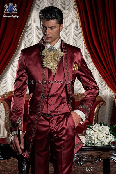 Baroque red satin frock coat golden embroidered.