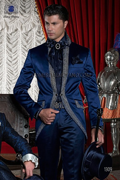 Baroque Italian blue embroidery wedding suit