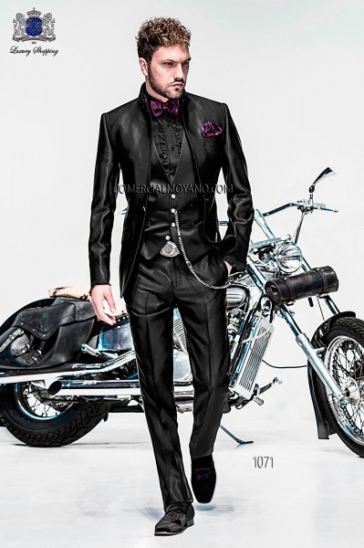 Italian high fashion black suit
