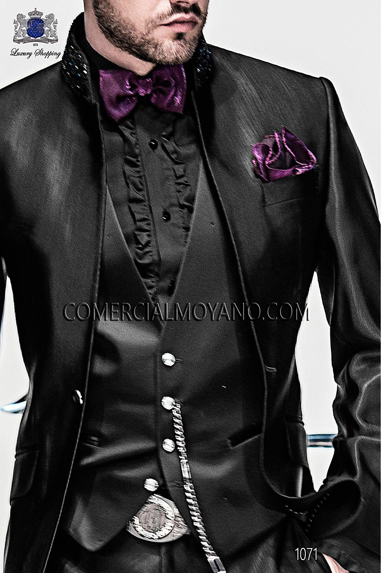 Italian emotion black men wedding suit, model: 1071 Ottavio Nuccio Gala 2017 Emotion Collection