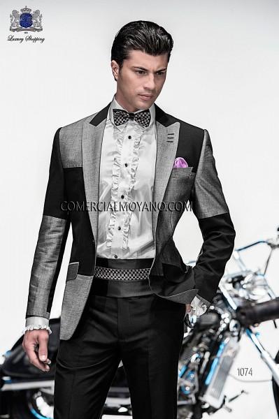 Italian emotion gray patchwork men wedding suit style 1074 Ottavio Nuccio Gala