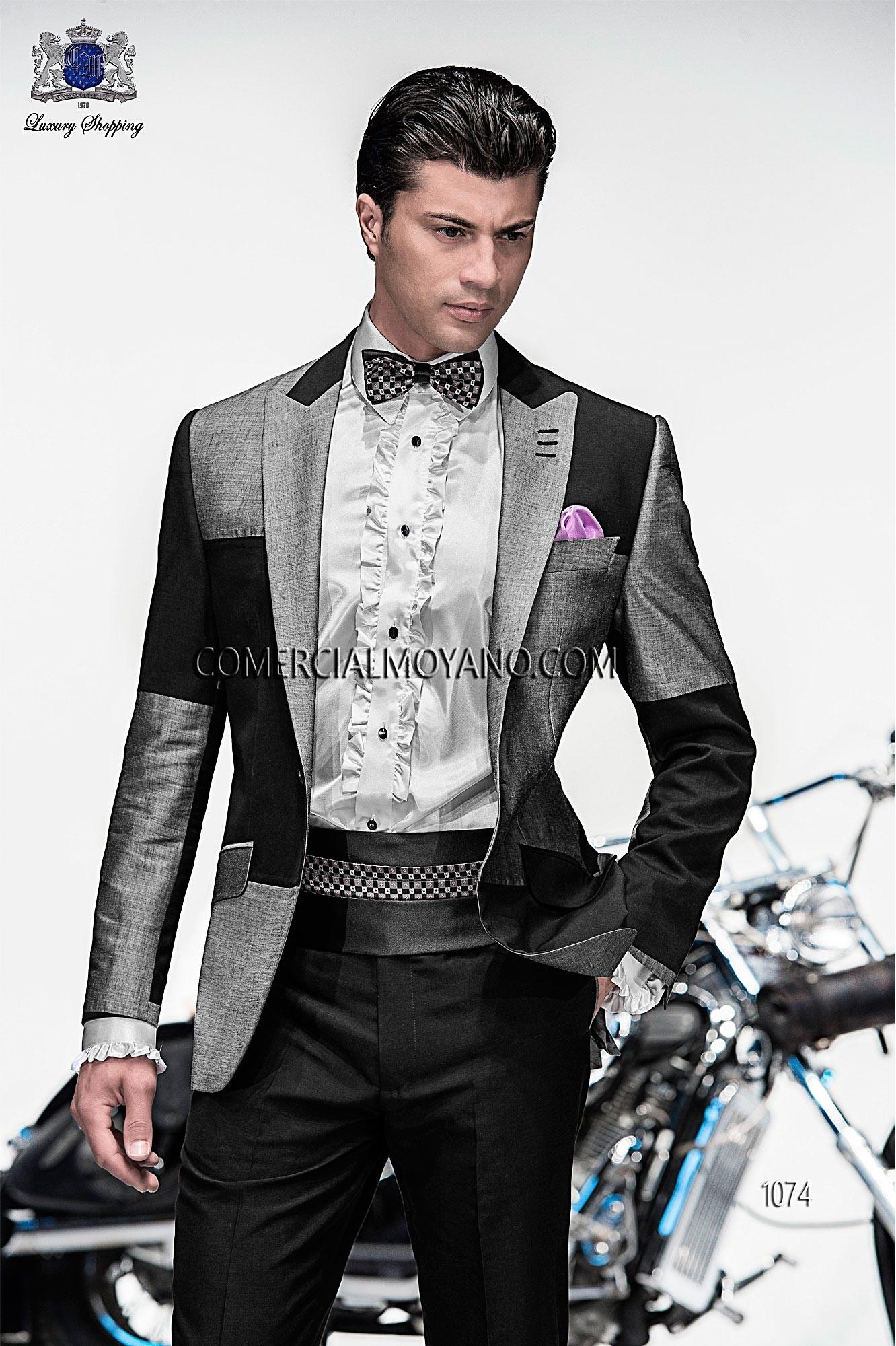 Traje de moda patchwork italiano a medida, en tejido new performance bicolor gris oscuro/claro, coordinado con pantalón en alpaca fina gris marengo, modelo 1074 Ottavio Nuccio Gala colección Emotion 2015.