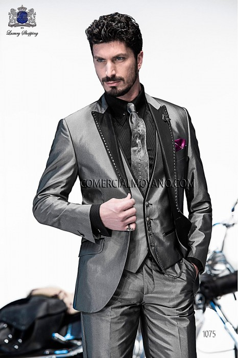 Italian bespoke gray fashion suit 3 pieces in cotton-silk fabric with black contrast lapel and transfer applique, style 1075 Ottavio Nuccio Gala, 2015 Emotion collection.