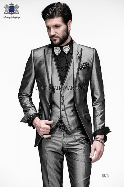 Italian gray high fashion vested suit