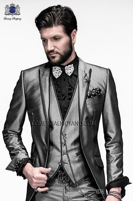 Italian bespoke gray fashion suit with waistcoat style 1076.