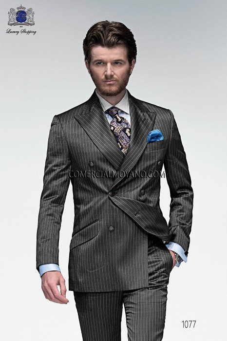 Italian bespoke gray double breasted fashion suit with white pinstripes in fil a fil fabric, style 1077 Ottavio Nuccio Gala, 2015 Emotion collection.