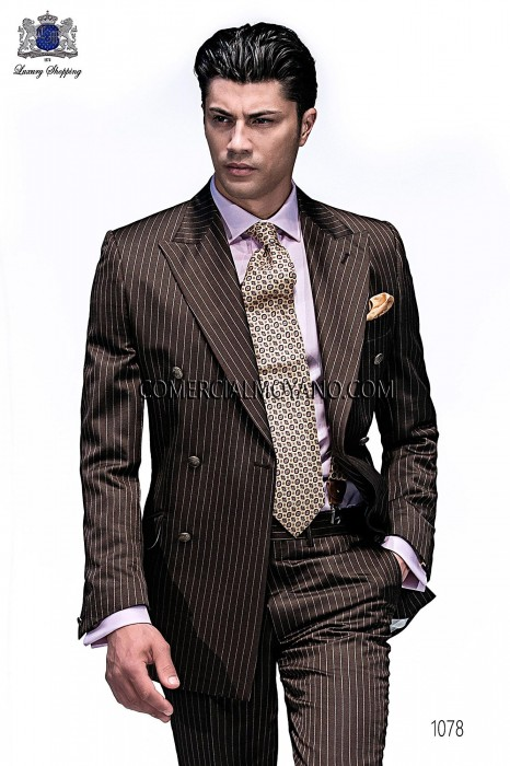 Italian brown pinstripe fashion suit