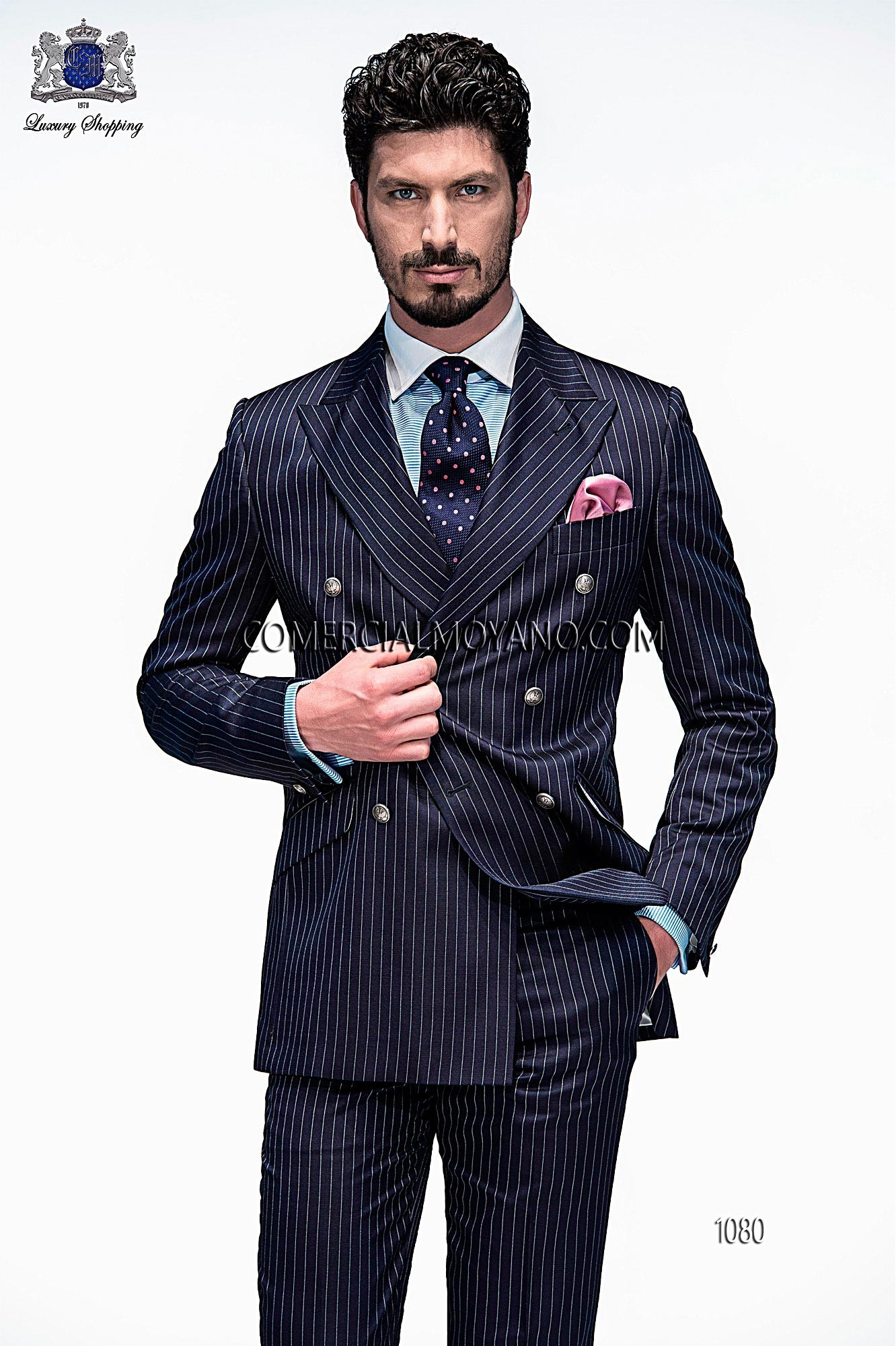 Italian bespoke blue double breasted fashion suit with white pinstripes in fil a fil fabric, style 1080 Ottavio Nuccio Gala, 2015 Emotion collection.